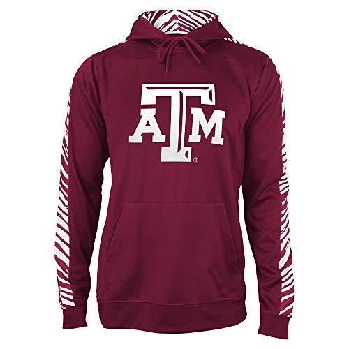 Zubaz NCAA Herren Kapuzenpullover Solid Zebra, Herren, NCAA Texas A&M Aggies Solid Zebra Hoodie, Lg, Kastanienbraun/Weiß, Large