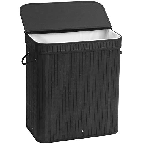 SONGMICS Laundry Hamper with Lid, Bamboo Launry Basket with Handles, Foldable Storage Basket for Laundry Room, Bedroom, 100L, Black ULCB63H