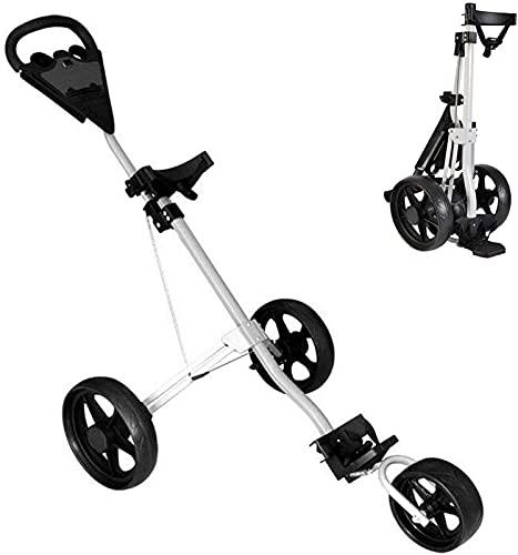 Carrito de Golf 3 ruedas Push Pull Golf Carrito de golf, carro plegable, un segundo para abrir y cerrar el carro plegable, los carros de golf ligeros, el freno de pie, mejora el equipo de fitness de m