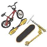 ミニフィンガーバイク/スケートボードおもちゃセット、折りたたみスクーター、YYWJによる男の子と女の子のためのミニフィンガースポーツバースデーギフトパーティーの好意