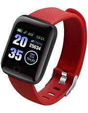 Souarts Smartwatch Fitnessarmband, hartslaghorloge, sporthorloge, kleurenbeeldscherm, bloeddruk, trilalarm, compatibel met iPhone en Android fitnesstracker