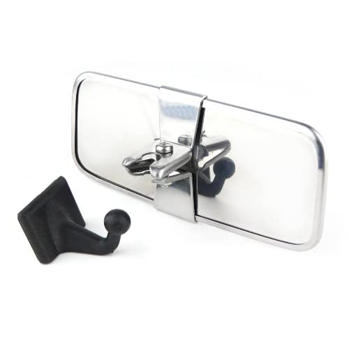 Rectangular Stainless Steel Back Car Interior Mirror with Adhesive Mount