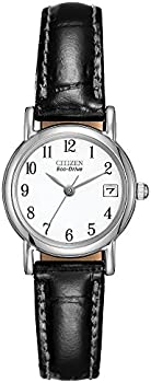 Citizen Eco-Drive Stainless Steel & Black Leather Women's Watch
