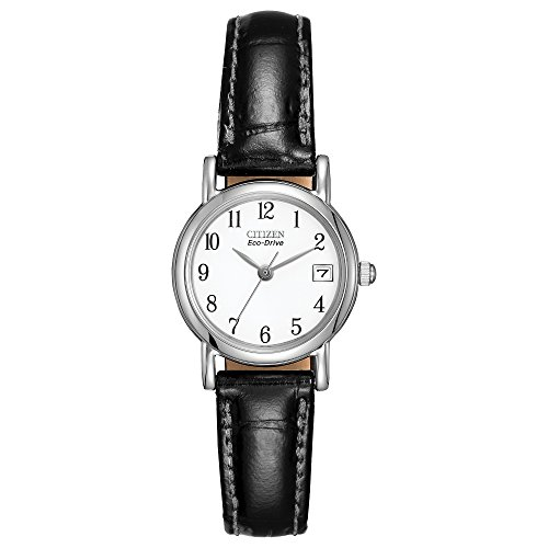 Citizen Eco-Drive Corso Quartz Womens Watch, Stainless Steel with Leather strap, Classic, Black (Model: EW1270-06A)