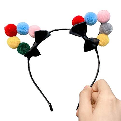Les Femmes Doux Les Oreilles De Chat Couvre-chef Bandeau Serre-tête Pompon Boule De Bow Hairband Cosplay Accessoires Cheveux