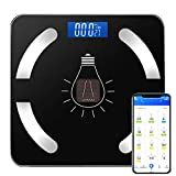 Cobiz Báscula De Baño Digital - Báscula Inteligente Solar Energía y USB Recargable con Bluetooth con Aplicación IOS y Android, Pantalla LCD, Báscula de Peso Antideslizante