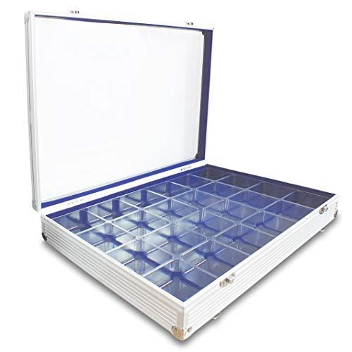 SAFE 5881 Alu Sammel Vitrine mit transparentem Deckel | Setzkasten für Mineralien, Lego, Steine uvm. | Format: 65 x 395 x 300 mm