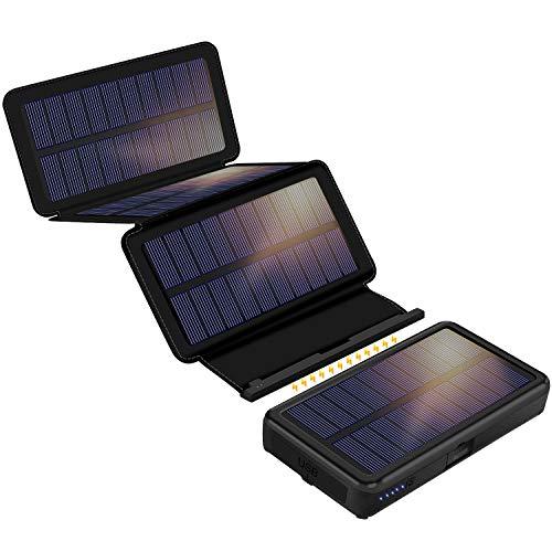 F.Dorla Solar Powerbank 25000mAh mit 4 Abnehmbaren Solar Panels, 2 Eingänge 2 Ausgänge, LED-Taschenlampe mit 3 Betriebsstufen, wasserdichte Powerbank Solar für Outdoor Aktivitäten