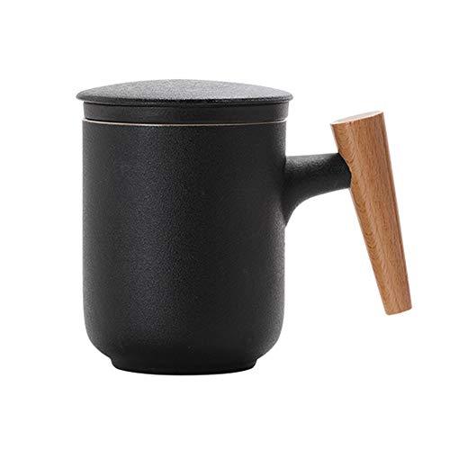 Maya Star Taza de té con Tapa y Filtro de Agua de cerámica, Taza de separación de té filtrada de cerámica, Taza de té de la Oficina NO.11