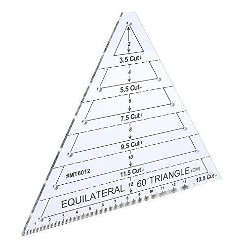 Plantilla de acolchado de regla de acolchado de triángulo de 60 grados Plantilla de costura transparente Regla de artesanía de corte Herramientas de bricolaje