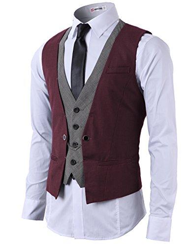 H2H Mens Casual Fashion Business Suit Layered Vest Wine US M/Asia L (CMOV01)