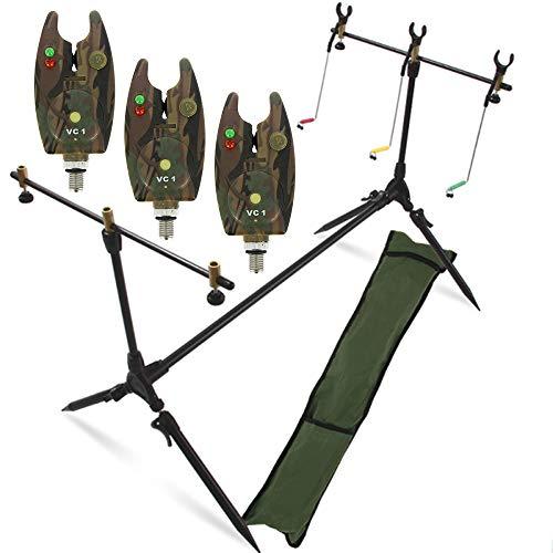 G8DS® Set Rod Pod Rutenhalter + Tragetasche inklusive 3 Bissanzeiger mit Lautstärkeregeler Karpfen Angeln