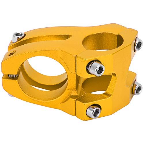 Keenso Attacco Manubrio Corto, 31,8/25.4x35mm Attacco Manubrio per Bici in Lega di Alluminio Riser per Attacco Manubrio per Bici da Strada, Bici a Scatto Fisso, Mountain Bike, Bici da Discesa(Oro)