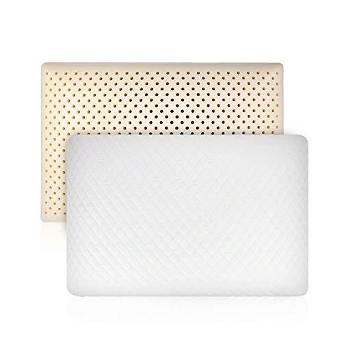 IODAY Natürliches Talalay-Latex-Kissen für Bett, kühlendes Kissen für Nacken- und Schulterschmerzen, Unterstützung für Rücken, Bauch, Seitenschläfer (King)