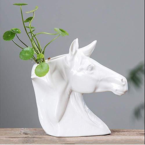 Fuudaer Semplice Creativo Testa di Cavallo Vaso da Fiori in Ceramica Succulente Desktop Europeo Piccoli Ornamenti Decorativi Soggiorno Balcone Idroponica Piccolo Vaso - 2 Colori (Color : Bianca)