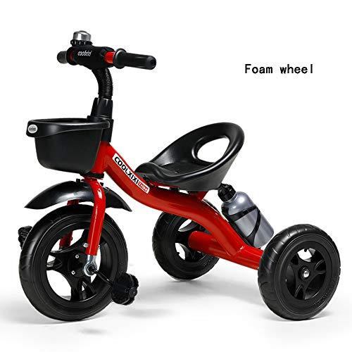 Passeggini Passeggini per Bambini, Ciclo per Bambini Baby Trike, Tricicli per Bambini di 2-6 Anni Triciclo con Pedali Baby Bike Triciclo Prodotti per Bambini,Rosso