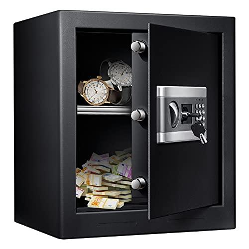 TOPQSC Elektronik Safe Tresor, 44L Feuerfest Wasserdicht Cabinet mit Schlüssel, Schrank Safe für das Home Office, LED-Leuchtanzeigen mit digitaler Tastatur Notschlüsse Möbeltresor, 46 x 39 x 54 cm