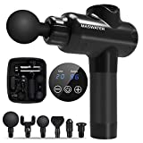 Massage Gun, Portable Deep Tissue Percussion Muscle Massager with 6 Replaceable Heads and LCD Touch Screen, Ultra-Quiet, 20 Speeds Level for Muscle Tension Relief - MASWATER Massager (MG-200 Pro)