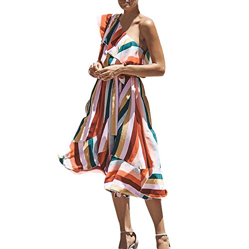Kleid Kolylong Damen Elegant Regenbogen Trägerlos Kleid Lang Vintage Streifen Schulterfrei...