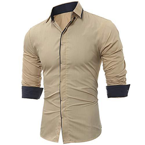 Camisa clásica de Color en Contraste con Costuras para Hombre, Moda Informal, de Manga Larga, versátil, Ropa de Calle, Ajustada, cómoda, Camisa M