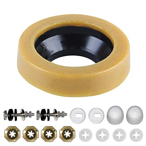 Toilet Wax Ring Kit Include Closet Bolts, Bolt Caps, Thick Flange and Retainer Washers, Fits 3 Inch and 4 Inch Waste Lines for Toilet Gas Odor and Watertight Sealing Supplies (1 Pack)