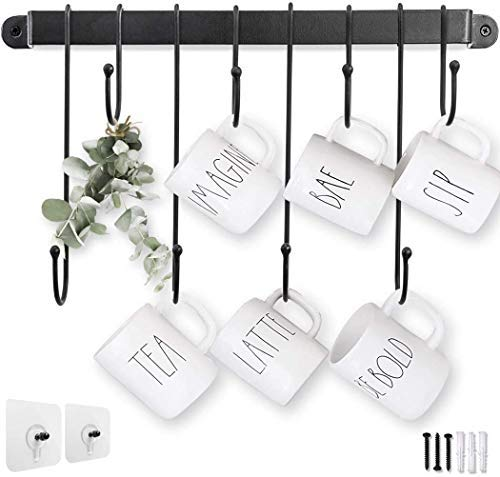 Hanging Cup Holder Coffee Mug Hangers for Kitchen Organizer and Wall Mounted Cup Hooks Mothers Day Gift Item Mug Rack 001 (17/8 Hooks) (17 Inch)