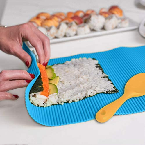 SchwartsCount Silicone Sushi Mat Rice Rolling Hygienic Large 12 x14 Inch Blue Silicone Yellow product image