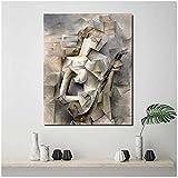 Pablo Picasso Chica con una mandolina Pintura en lienzo Carteles ImpresionesArte de la pared Cuadro decorativo Decoración moderna para el hogar 50x70 cm x1 Sin marco