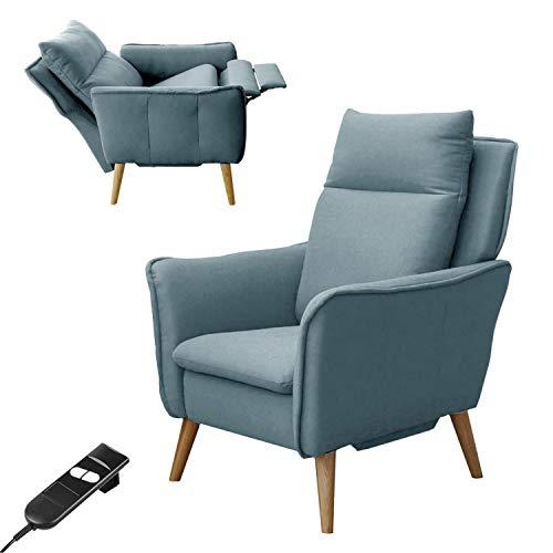 place to be. Sillón de relax pequeño con función eléctrica / motorizada, sillón ajustable con mando a distancia, roble macizo, color salvia