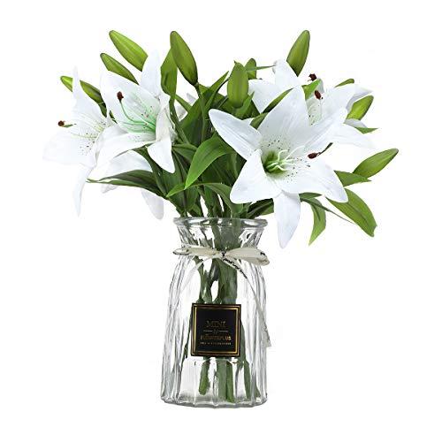 ANSUG Flores de Lirio Artificiales con 3 capullos, 8 Piezas de Ramo de Flores Falsas con Apariencia Natural Flores de látex de Tacto Real para decoración del hogar, arreglos de Boda(Blanco)