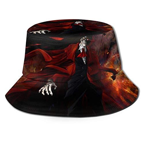 Volver a Dust Sombrero de Cubo Hellsing Sombreros de Pescador Sombreros de Cubo de Doble Cara con Estampado Unisex Moda de Verano Protector Solar Visera Plegable Gorra Deportiva al Aire Libre