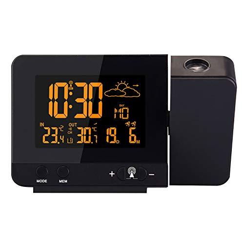 Neubula - Reloj despertador con proyector digital con medición de la temperatura interior, fecha y hora, reloj digital con proyección LCD con función Snooze