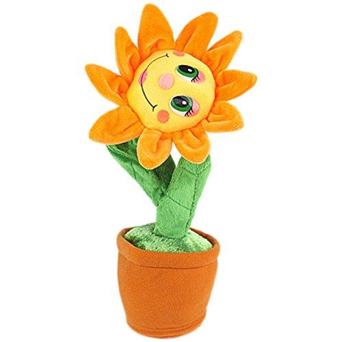 Bluetooth Singen und Tanzen Blume Weichem Plüsch Lustige Elektrische Spielzeug Simulation Sonnenblume Plüschtiere Orange