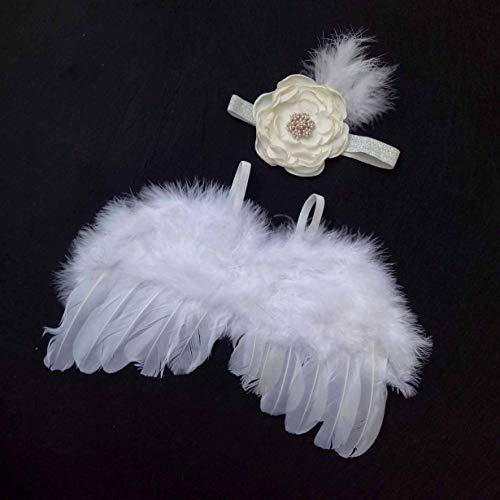 camellia Neugeborene Fotografie Props Säuglingsbaby-Engels-Feder-Flügel-Feder-Foto-Stütze Flügel Kleidung Mädchen-Spitze Kopfbedeckung (weiß)