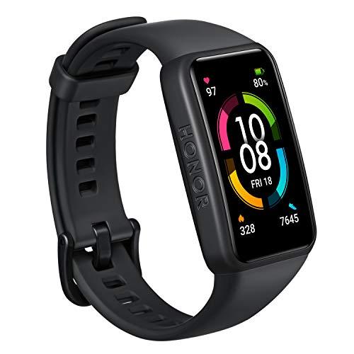 HONOR Band 6 Orologio Fitness Tracker Uomo Donna Android iOS Smart Band, 1.47' Schermo Durata della Batteria di 14 Giorni Impermeabile Smartwatch con Contapassi Cardiofrequenzimetro(Nero)