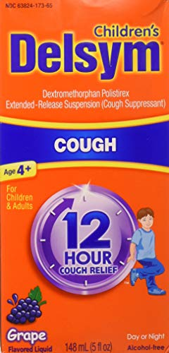 Delsym 12 Hour Cough Relief Alcohol Free Grape Flavored Liquid Cough Suppressant 5 Ounce Bottle (Pack of 2)