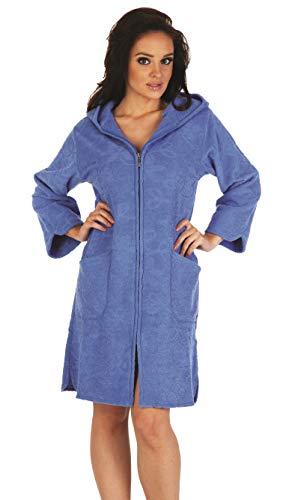 FOREX Lingerie flauschiger Bademantel Mantel mit praktischem Reißverschluss und kuscheliger Kapuze, jeans, Gr. XL