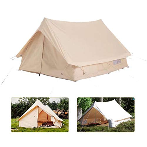 Daiwen Canvas Tents for Camping Waterproof Canvas Wall Tent for 2-4 people 4 Season Canvas Tent for Camping Hiking Christmas Party Beige