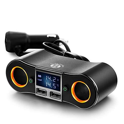Multi-fonctionnel Chargeur de voiture Double port Adaptateur de voiture USB 80W 3.1A Chargeur rapide avec surveillance de tension led avec diviseur d'allume-cigarette à 2 prises pour voiture 12V-24V