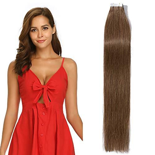 45cm Extension Capelli Veri Adesive 20 fasce 50g/set Remy Human Hair Tape in Lisci Umani Riutilizzabile Seamless, 6 Castano
