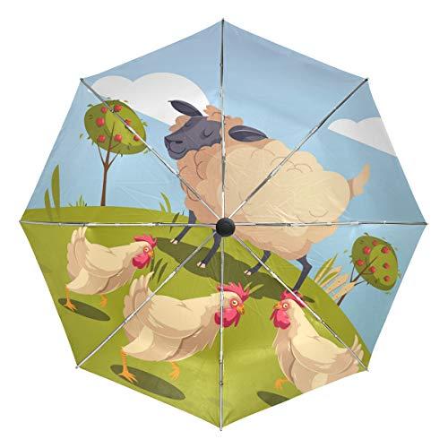 DEZIRO Regenschirm, Hühner und Schafe, für den Außenbereich, automatisch, Winddicht, wasserdicht