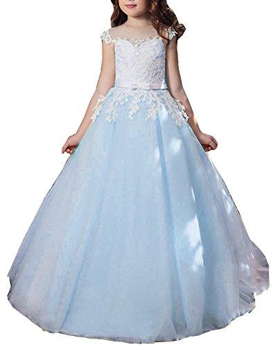 Beyonddress Mädchen Hochzeit Blumenmädchenkleider Hochzeits Bodenlanges Kinderkleid Kommunionkleid Spitze Ballkleid Partyskleid(Blau,7-8 Jahre)