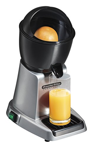 Proctor Silex Commercial 66900 Electric Citrus Juicer, 3 Reamer Sizes for Oranges, Lemons, Limes and Grapefruits, Removable Bowl, Strainer, Splashguard, Drip Tray, Black/Grey