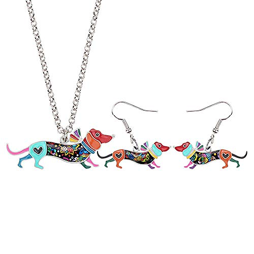 XQAQW Las Mujeres y la niña Esmalte aleación Collar y Pendientes Joyas Conjunto Adolescente cumpleaños Regalo Multicolor