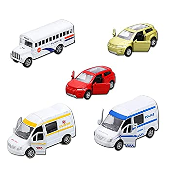 Diecast Metal Cars Toys Set of 5 Pull Back CarOpenable Doors Toy Cars for Boys Age 3-7 Year  School Bus Police Cars 1