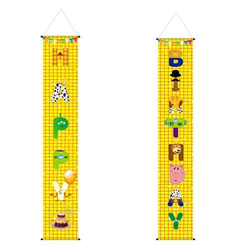 Llh Toy Story - Señal de porche de feliz cumpleaños, decoración de cartel de cumpleaños para niños