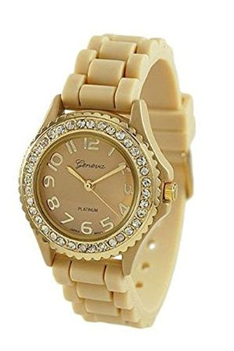 Cream w/ Gold Bezel Geneva Crystal Rhinestone Watch Silicone Jelly Link Band