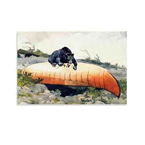 xingqisi Póster de oso y canoa, diseño de barco de la amistad, 30 x 45 cm