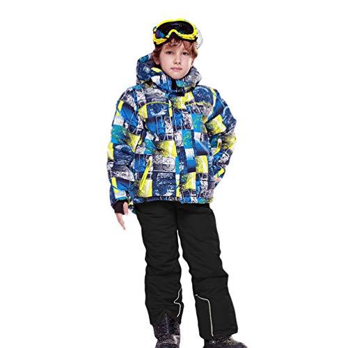 Lvguang Kind Berg wasserdichte Kapuzen Skijacke Winddicht Warme Winterregen Schneejacke Wear & Ski Pants (Schwarz#1, Asia XS)