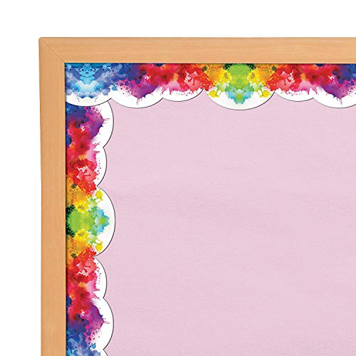 Fun Express Watercolor Bulletin Board Border - 12 Pieces - Educational and Learning Activities for Kids